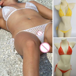 2020 New Handmade Crochet Micro Bikini G Thong String Beach Micro Swimwear Sexy Lingerie Sets Hot Sale