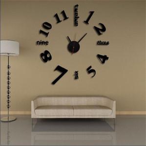 Originalidad DIY Reloj de pared Acrílico Etiquetas de espejo 3D Muebles para el hogar Decorar el hogar Relojes NUEVO 5 6JW F2