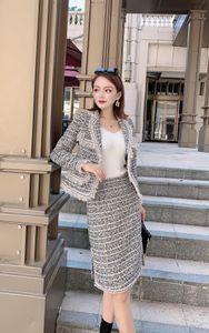 Europa logotipo popular de inverno terno de saia 2020 terno outono / inverno vestido mulheres novo deusa Xiaxiang saia de lã temperamento