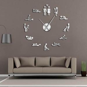 العازبة لعبة مثير كاماسوترا DIY غرفة الكبار الزخرفية ساعة الحائط العملاق الجنس الحب الوظيفة بدون إطار واسع الفن ساعة الحائط 1008