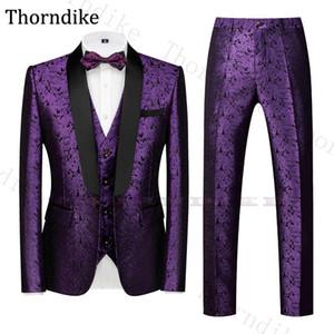 Thorndike Purple Wedding Suit Men Elegant Formal Suits Shawl Lapel Jacquard Grooms Taxedos Casual Summen Autumn Party Prom Suits
