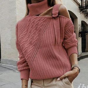 New Fashion Sexy Halter Knit Sweater Women Jumper Strapless Pullover Autumn Winter solid Long Sleeve Female Knitwear Pull Femme