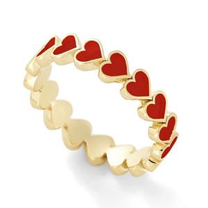 Adorabile colorato smalto cuore circondato Stacking Gold Love anelli per le donne Gioielli minimalisti per le donne Best Friend Anello da uomo
