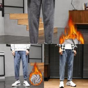 Lwyg eh · md outdoor® ouro brilhante dupla jeans listrado masculino cordão elástica cintura elástica de alta qualidade buraco buraco calça jeans reflexivo