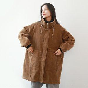 cotone lungo velluto a coste delle donne con coulisse in vita e in piedi collare Wick vestiti cotone imbottito vestiti cotone imbottito addensato cas invernali