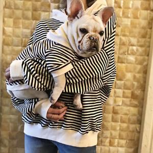 Padre-niño algodón rayas francés bulldog hoodie mascota ropa perro perro pequeño perro ropa chihuahua traje pug ropa Yorkshir 201127