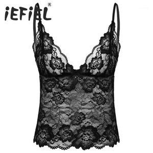 Gay Mens Sissy Adult Crop Top See Through Lace Lingerie Adjustable Spaghetti Straps Deep V Neck Nightwear Camisole Vest Crop Top1