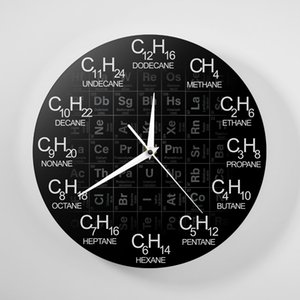 Periodic Table Of Elements Chemistry Wall Clock Chemical Formulas As Time Numbers Wall Watch Chemical Science Wall Art Decor Clock