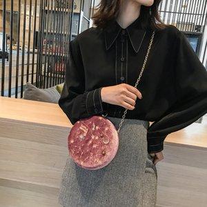 Sternenhimmel-Stickerei-Runde Velvet Kleine Schultertasche Messenger Bag Frauen-Mode-Kette Umhängetaschen Damen Kupplungs-Geldbeutel