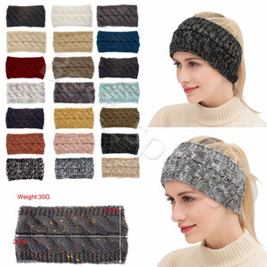 21 Colors Knitted Crochet Headband Women Winter Sports Hairband Turban Yoga Head Band Ear Warmer Beanie Cap Headbands CYZ2864