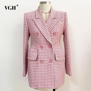 VGH elegante xadrez blazer para mulheres entalhadas manga longa dupla breasted blazers feminino moda nova roupa 2020 outono1