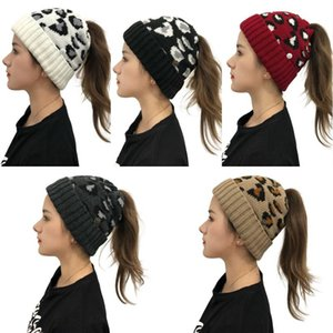 Lady Criss Cross Ponytail Beanies With Button 5 Styles Women Winter Knitted Leopard Hat Sport Skull Ski Cap Christmas Gift Kimter-L759FA