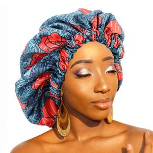 New African Pattern Print Bonnet Women Day Night Sleep Cap Double Layer Satin Turban Extra Large Head Wear Ladies Head wrap Hat