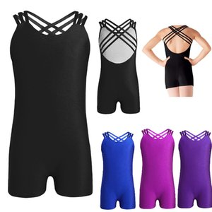 Mädchen Ballette Trikot Bodysuit Gymnastik Unitard Sleeveless Riemy Criss-Cross Back Ballet Dance Gymnastik Trikot Jumpsuit