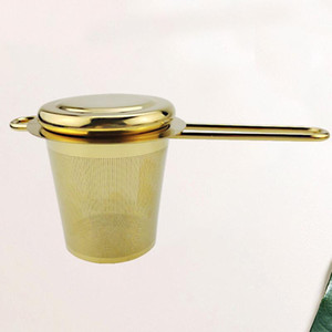 Stainless Steel Gold Tea Strainer Folding Foldable Tea Infuser Basket for Teapot Cup Teaware Wholesale LX3779