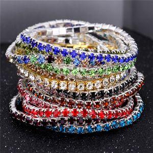 3.5MM One Row Rhinestones stretch bracelets 16 colors Crystal tennis bangle bracelet For women&Ladies Fashion Jewelry Cheap wholesale