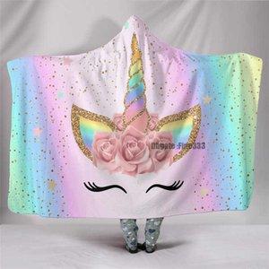 Шампанское Warler Цветок Мультфильм Пятно Phot Pattern 3D Печатные плюшевые Одеяло с капюшоном для взрослых Малыш Теплый носимый флис бросает одеяла