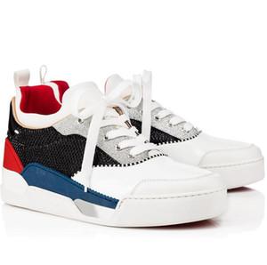 Роскошный Популярный Red Bottom Орелен Mens Running Sports Flat замша Low Top Sneakers Perfect Quality Открытой Пара тренер EU38-47