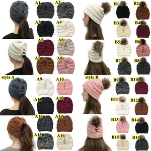 Pom Pom Criss Cross хвостик Beanie 32 Styles Зима теплая шерсть вязаная шапка Женщины Креста хвостик Hat Beanie OWE2104