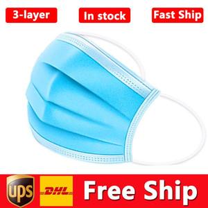 50pcs / lot Trasporto libero maschere di protezione del viso monouso a 3 strati maschera di protezione con la bocca ineguagliabile maschere sanitarie per esterni a buon mercato all'ingrosso