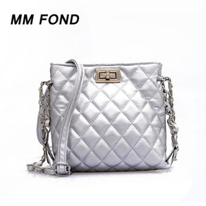 MM FOND Plaid Classical Leather women Fashion Cross Body Handbag Elegant Silver Color Easy Matching Shoulder Bag Day Flap Bag