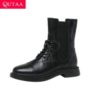 QUTAA 2021 Patent Leather Round Toe Lace Up Ankle Boots Square Heel Autumn Winter Women Shoes Cow Leather Short Boots Size 34-39