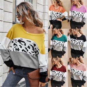 Дамы Colorblocked Stripe свитер тенденции моды с длинным рукавом круглым вырезом Свободные топы Дизайнерские женские осени новые случайные конфеты цвет Свитера