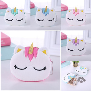 Kid Plush Coin Purse Wallet Student Girl Mini Cute Change Purse Cartoon Unicorn Unisex Earphone Cosmetic Gift Bags Card Holder Storage Bags