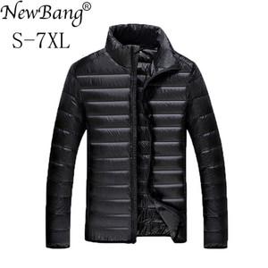 NewBang Plus 5XL 6XL 7XL pato pluma ultraligero abajo de la chaqueta para hombres Parque Outwear con bolsa de transporte Abrigo
