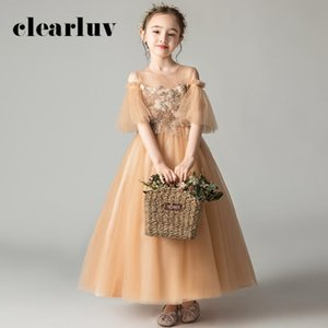 Flower Girl Dresses for Wedding Champagne Gold AppliqueS Ball Gown B001 O-Neck Hollow Tulle Kid Party Communion Dress Elegant