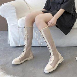 Rimocy Sexy Black Mesh Knee High летние сапоги женские круглые носки задняя молния платформа ботины муджера дышащие кружева обувь женщина1