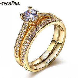 Vecalon 3 цветов влюбленных кольцо набор 5А Zircon CZ Gold заполнены 925 серебряные обручальные кольца для женщин свадебные украшения Y200602