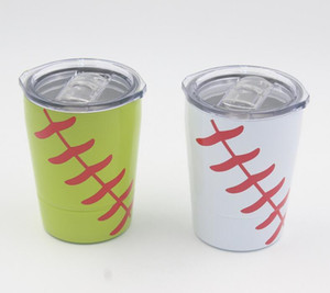 New 8.5oz Mini Tumbler Baseball kids cups wine glasses Stainless Steel Travel Beer Mug with straws Student cups no Vacuum Insulated