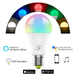1 10pcs Smart WiFi Light Bulb E27 Led Lamp 5W 7W RGB RGBCW Cool Light Warm Lights Work With Alexa Google Home New Year Lights