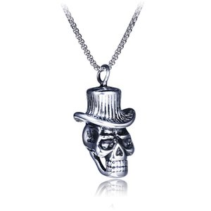 Male Fashion Retro Stainless Steel Hollow Skull with Hat Pendant Necklace BXG020 Personality Charm Dangle Chain Accessory Punk Rock Jewelry