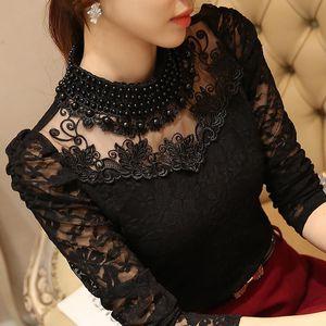 Dingaozlz elegante lungo la tuta del manicotto di perline Camicie donna camicetta di pizzo crochet cime Blusas Mesh chiffon camicetta abbigliamento femminile