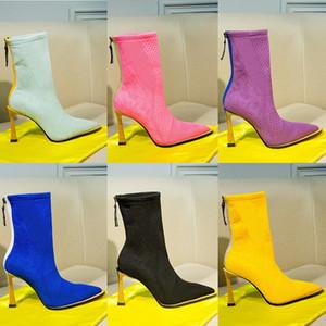 Женская зима Высокие каблуки сапоги Австралия высокого качества хлопка Knit Zip голеностопного полусапожки 2020 Новая мода дамы овчины кожаные Bottines