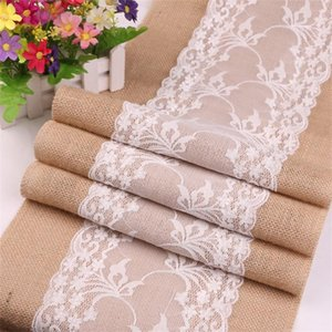 Linen Tablecloth Burlap Lace Hessian Table Runner Christmas Process Wedding Decorative Tablecloths Party Decoration Festival 16zy Ff