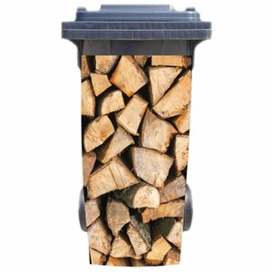 Free shipping DIY Wood heap Adhesive Removable Waterproof Sticker Decals Rubbish bin trash can Cover sticker 120liter 240liter 1007