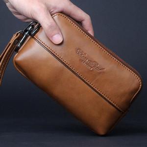 Hot Sale Genuine Leather Men Cell Mobile Phone Case Bag Fashion Trend Clutch Wrist Hand Bags Fanny Belt Purse Pouch Waist Pack