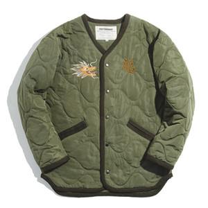 Maden Men's Retro M65 Yokosuka Embroidered Liner Jackets Autumn and Winter Warm Jacket Men Green Coats 201013