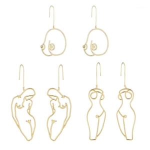 3 pares artsy resumo senhora declaração de mama aro brincos kit oco fio esboço feminino corpo boob brincos kit jóias1