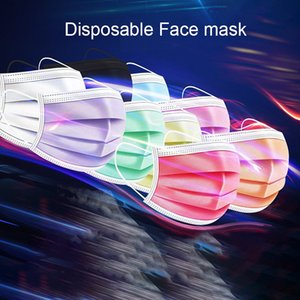 Three layers of colorful disposable face mask adult protective masks with melt-spray personalized printing  masks GWB2501