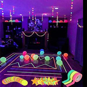 1ps Luminous Tape Neon Paper Garland hanging Dot Star Glow in the dark Neon Tape Birthday Wedding Supplies Glow Party Decoration