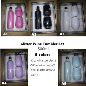 sublimation glitter wine tumbler set 500ml Stainless Steel 17oz wine Bottles with two 12oz wine tumblers best gift set