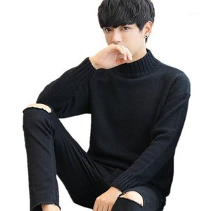 Okkdey 2020 hiver chandail d'hommes manches longues tricotwear collier hauteur collante jeunesse coréenne épaissie chaude supérieure1