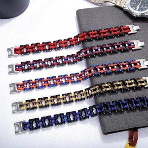 Bracelet en acier inoxydable en acier inoxydable de Titanium Coloré Mae Vélo Homme Vélo Hommes Chaîne Bracelet Punk Mode Bijoux Homme Decor cadeau1