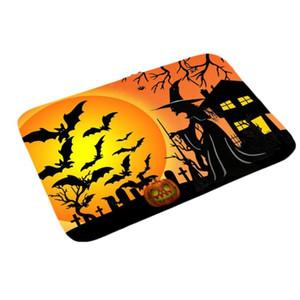 Halloween Kitchen Bathroom Non-slip Floor Mat Carpet Pumpkin Bat Cemetery Pattern Floor Mat For Non-slip Place