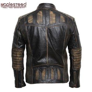 Mapleesteed Vintage Motorcycle Jacket Hombres Chaqueta de cuero 100% Cuero de vaca Chaquetas de cuero genuino para hombre Chaqueta de motocicleta Moto 5XL 090 201144