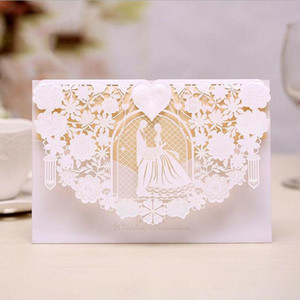 (50 pieces lot) Laser Cut White Gold Red Wedding Invitation Card Customize Print Engagement Party Decoration Invitations IC023